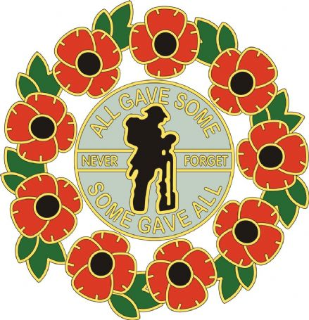 Poppy Car Window Sticker With Soldier and Wreath